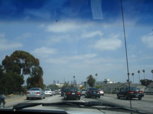 Freeway Driving north of Downtown Los Angeles