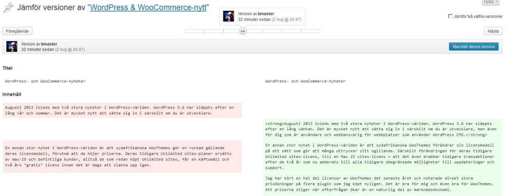 WordPress 3.6 Post Revisions