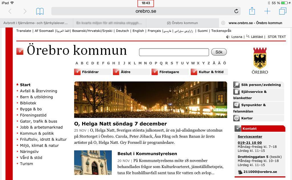 Orebro.se utan notis om vattenproblem